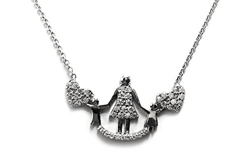 Loving Silver Pendant Sterling Family (DTLA Sterling Silver Loving Family Pendant Necklace with Cubic Zirconia Mother & 2 Children)