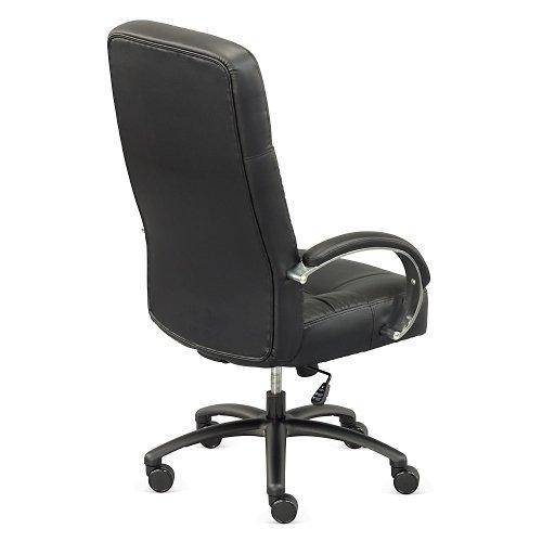 Magnus Big Tall Leather Chair Black Leather/Polished Aluminum Arms/Polished Aluminum Base