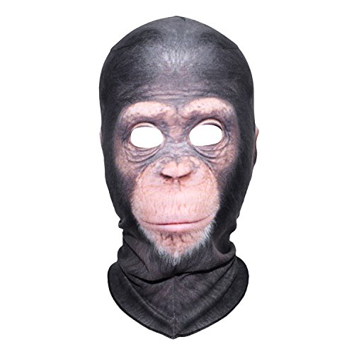 JIUSY 3D Chimpanzee Fleece Windproof Balaclava Neck Warmer Cover Face Mask for Snowboard Ski Motorcycle Cycling Hunting Riding Halloween Party Costume Cosplay Cold Weather Winter Outdoor Sports (Cold Weather Costumes)