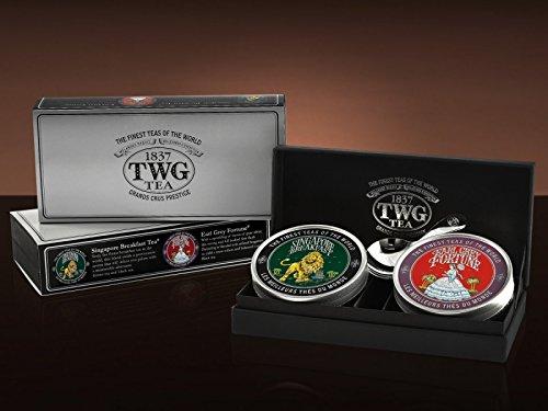 TWG Singapore - Luxury Teas - Grand Explorer Tea Set - 2 x 1.75oz Loose leaf Caviar Tin's + Silver TWG Tea Scoop by Unknown