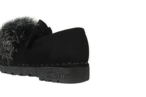 Allhqfashion Dames Geïmiteerd Suède Pull-on Ronde-teen Lage Hakken Pumps-schoenen Zwart