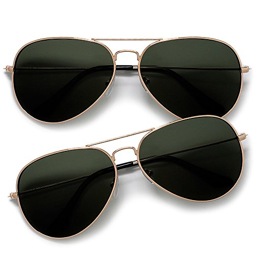 Lets Be Cops Police Aviator Style Sunglasses (2 Pack Gold/G-15 Green)