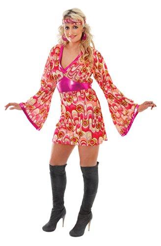 Abba Fancy Dress Outfits (Playhouse Fancy Dress 60'S & 70'S Hippy Flower Power Dress In Pink Size 12-14)