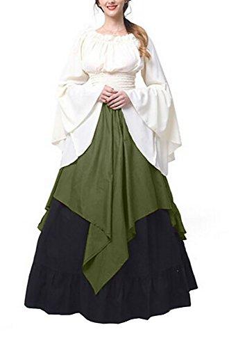 Makkrom Women's Renaissance Medieval Irish Gothic Victorian Halloween Costume (Plus Size Irish Costume)