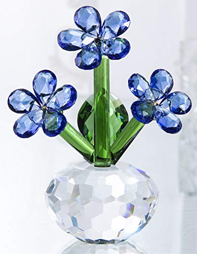 Qf Crystal Flower Figurine Forget-Me-Not Crystal Ornament