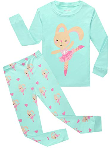Kids Pajamas Hop Big Girls Rabbit Pajamas Children's Clothing Long Sleeve Pants Set (Blue,8)