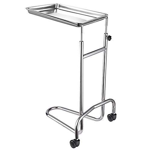 AW Mobile Mayo Stainless Steel Adjustable Tray Stand Medical Doctor Tattoo Spa Salon Equipment 22lbs Capacity