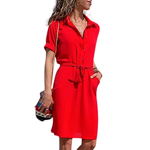 Honwenle Women Plain Button Down Collar Roll Up Three Quarter Sleeve Pocket Shirt Midi Dress Red from Honwenle