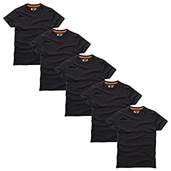 Charles Wilson Men's 5 Pack Plain Crew Neck T-Shirt (Small, Plain Black)