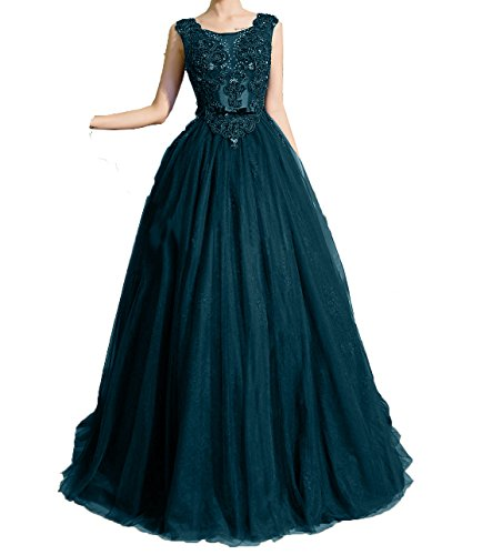 Abiballkleider Dunkel Charmant Damen Prinzess A Tuerkis Hochwertig Abendkleider Linie Spitze Promkleider Lang Abschlussballkleider pz4wqSp