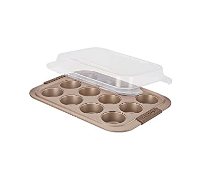 Anolon 12 Cup Advanced Nonstick Bakeware Muffin Pan with Silicone Grips