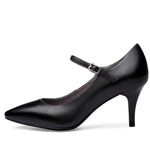 Noir 35 Boucle Black 7cm Partie Mariage UK Cour Chaussures Bouton Discothèque Haute 3 De Mode Talons Talon EU Professionnel Sexy Travail Femme en Cuir 1Ud4P1qw
