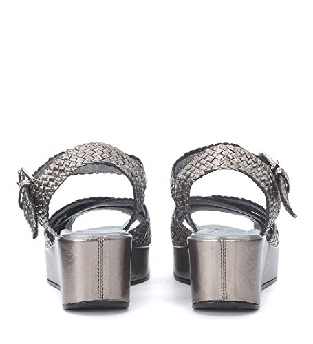 Grey Leather Woven Silver quintana Pons Women's Sandal Metallized ZnpAZ4Hq