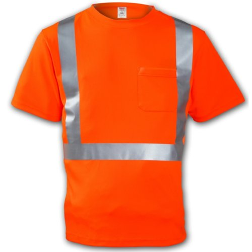TINGLEY Rubber S75029 Class 2 T-Shirt with Pocket, Large, Orange