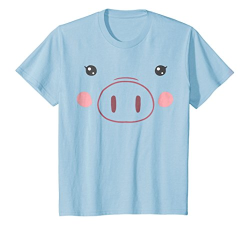 (Kids Pig Face T-Shirt | Funny Cute Animal Halloween Costume 8 Baby)