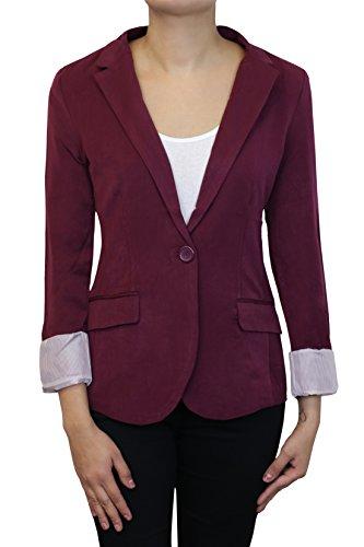 Instar Mode Women's Cuffed Sleeve One Button Boyfriend Blazer Burgundy S ()