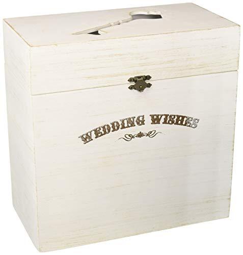 "Lillian Rose GA371 W White Wood Wedding Wishes Key Card Box, Measures 10"" x 10"" x 5.25"", Rustic Ivory"
