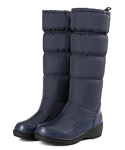 Aisun Dames Antislip Warme Ronde Neus Lage Hakken Plateaujurk Slip Midfijn Snowboots Schoenen Blauw