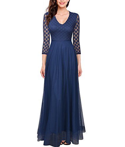 20s Attire (FORTRIC 3/4 Sleeves Top Lace See-Through Back Wedding Maxi Bridesmaid Long Dress Light Navy Blue L)