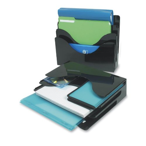 Deflecto 390204 3-Tier document organizer, desktop/wall mount, 13-3/8w x 3-1/2d x 11-1/2h, black