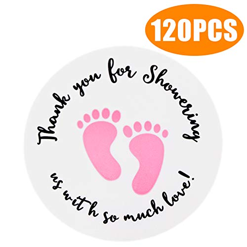 Original Design 120PCS Baby Shower Stickers,Thanks for Showering US,1.5inch Girl Boy & Gender Neutral Round Shower Stickers