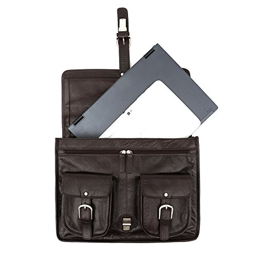 "Porterbello  Hatton Cross, Herren Schultertasche Braun Dunkelbraun Will carry up to 17"" Laptop"