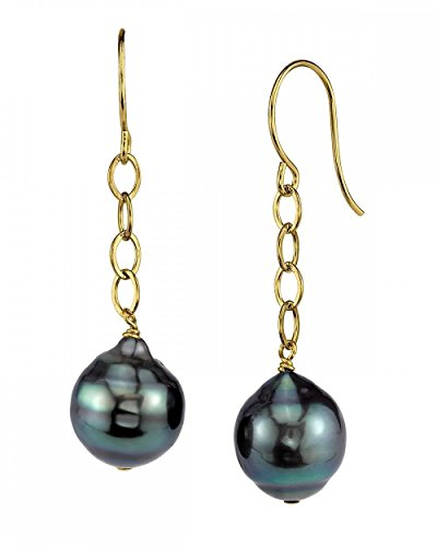 THE PEARL SOURCE 14K Gold 10-11mm Round Genuine Green Tahitian South Sea Cultured Pearl Dangling Tincup Earrings Set for Women