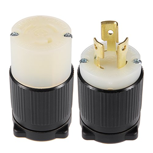 Plug 3w 15p 2p (uxcell UL Listed, NEMA L5-15P/LL5-15C Plug and Connector Set, 15A, AC 125V,2P, 3W, Industrial Grade, Grouding, for Generator Power Cable, US Plug, YUADON Authorized)
