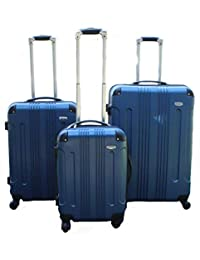Archibolt Canada 3-Piece Luggage Set ABS - Large, Medium and Carry On Suitcase with Wheels, Lock, and Telescopic Handle (Navy)