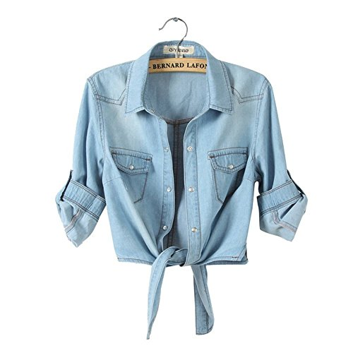 H.S.D Cool Knotted Short Denim Shawl Coat Top Jacket Light Blue Asian XL