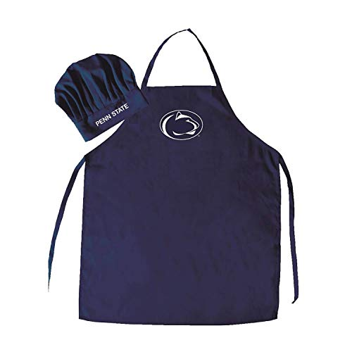 2 Piece Blue NCAA Nittany Lion Apron With Chef Hat Sports Team Logo Printed Kitchen Chef Apron Sports Themed Cooking Uniform BBQ Gardening Bib Clothing Grilling Fans Gift, Quality Polyester, UNISEX