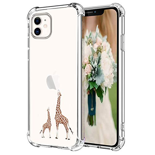 Hepix Giraffe iPhone 11 Case Cute Lovely Animals iPhone 11 Cover, Slim Flexible TPU Frame with Reinforced Bumpers Camera Protection Anti-Scratch Shock Absorbing Case for iPhone 11 2019 (6.1