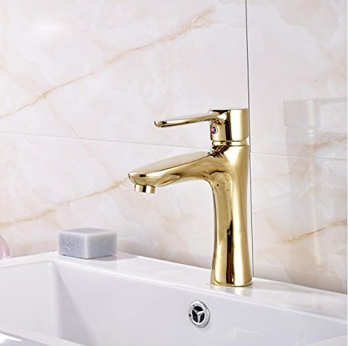 Aawang Single Lever Bathroom Short Basin Faucet golden Brass Hot And Cold Lavatory Sink Mixer Taps Deck Mounted golden