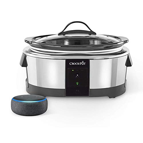 Crock-pot 2101704 6 Quart Slow Cooker Works with Alexa | Programmable Stainless Steel, with FREE Echo Dot, Charcoal Bundle