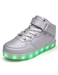 Vilocy Kids Boys Girls High Top USB Charging 7 Colors LED Luminous Light up Sport Shoes Flashing Fashion Sneakers Ankle Boots