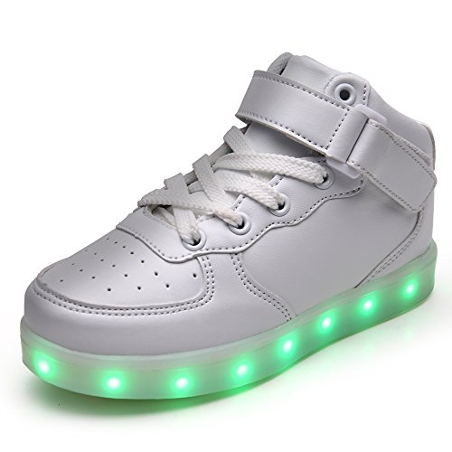 VILOCY Kids Boys Girls High Top USB Charging 7 Colors LED Luminous Light Up  Sport Shoes Flashing Fashion Sneakers Ankle Boots (1 M US Little Kid, White)
