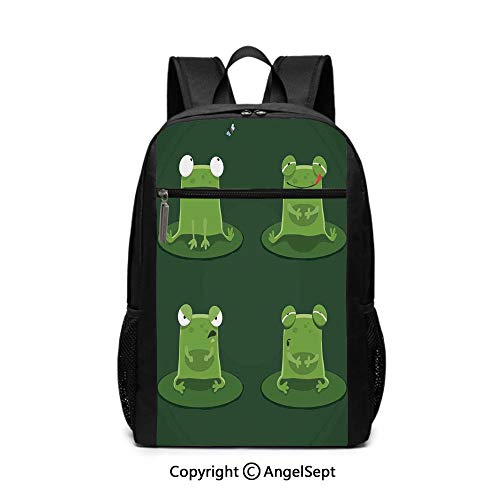 Large Capacity School Backpack,Funny Muzzy Frog on Lily Pad in Pond Hunting Tasty Fly Expressions Cartoon Animal,Bottle green,6.5