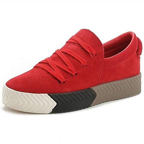 ZHZNVX Zapatos de Mujer Suede/Nappa Leather Spring/Summer Comfort Sneakers Flat Heel Cerrado del Dedo del pie Negro/Gris / Rojo Red