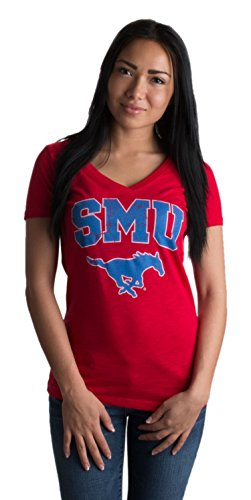 JTshirt.com-19791-Southern Methodist University | SMU Mustangs Retro Style Ladies\' V-neck T-shirt-B00VQV0REG-T Shirt Design