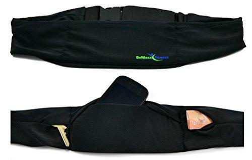 Laufgürtel Running Belt Bauchtasche von BeMaxx Fitness: Beste verstellbare Hüfttasche mit 3 Fächern - Handy, iPhone, Geld & Schlüssel Lauftasche für Jogging, Sport, Fitnessstudio