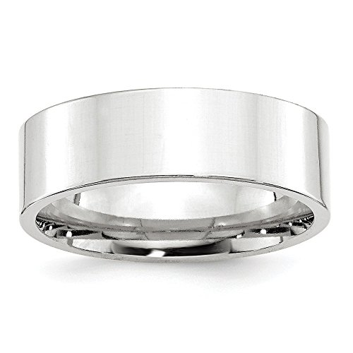 10k White Gold 7mm Standard Flat Comfort Fit Band Size 9 by Saris and Things