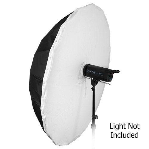 Fotodiox Pro 16-rib, 60'' Black and White Reflective Parabolic Umbrella with Neutral White Diffusion Cover by Fotodiox