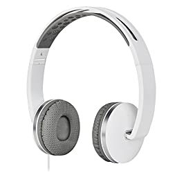 Gorsun Lightweight Sport Workout Headphones Headset with Volume Control and Microphone - White/Gray