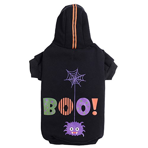 Image of PUPTECK Dog Hoodie Sweater - Boo Shirt Pet Sweatshirt Puppy Clothes Printed Style Black Extra Small