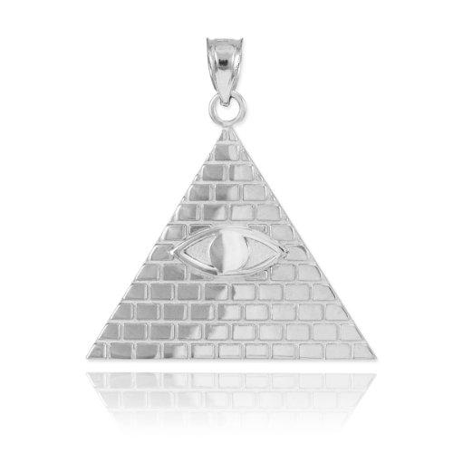High Polish 925 Sterling Silver Pyramid Charm All Seeing Eye of Providence Illuminati Pendant