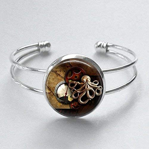 Steampunk Style Octopus Illustration Cuff Bracelet Handmade 25mm Silver Plated
