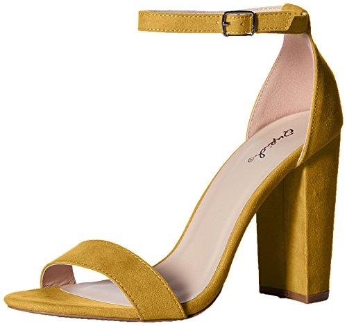 Qupid Women's Single Sole Sandal Heeled, Yellow, 9 M US from Qupid