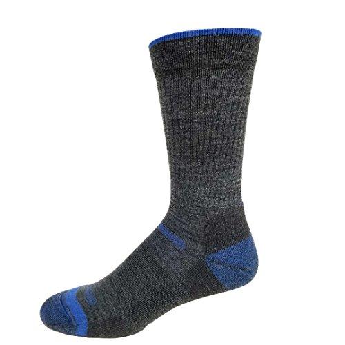 Merino Wool Light Cushion Hiking Work Boot Crew Socks Made in the USA (Large, Bahama Blue)
