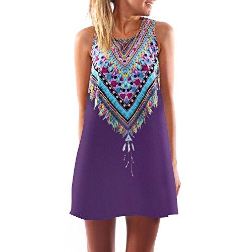 Women's Vanberfia Summer Sleeveless Tribal Printed Casual Mini Beach Floral Tunic Dress (S, 6293)
