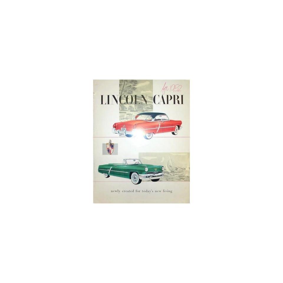 1952 Lincoln Capri Sales Brochure Literature Book Piece Advertisement Options